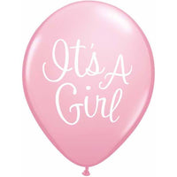Its A Girl Balloons Pink - Singles or Packs - Helium Filled or Flat
