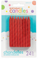Birthday Candles Glittered Red Pk24