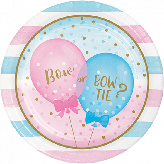 Gender Reveal Paper Plates \ Bow  Or Bow Tie?