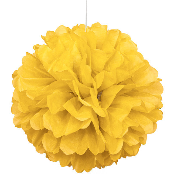 Tissue Paper Puff Ball  | Yellow | 40cm