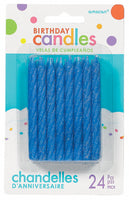 Birthday Candles Glittered Blue Pk24