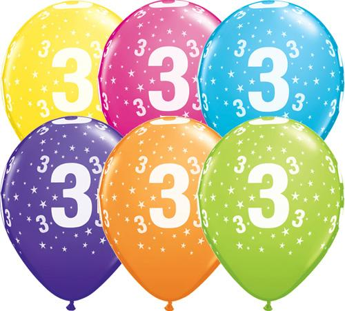 3rd Birthday Balloons Assorted - Single or Pack - Helium Filled - Flat