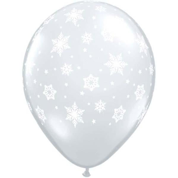 Snowflakes Balloon Clear - Single or Pack - Helium Filled or Flat