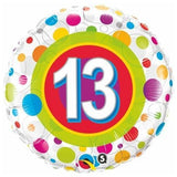 13th Birthday Balloon Multi / Flat - Helium Filled - Bouquet