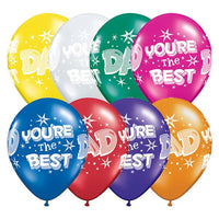 Dad You're the Best Balloons Assorted - Singles or Packs - Helium Filled or Flat