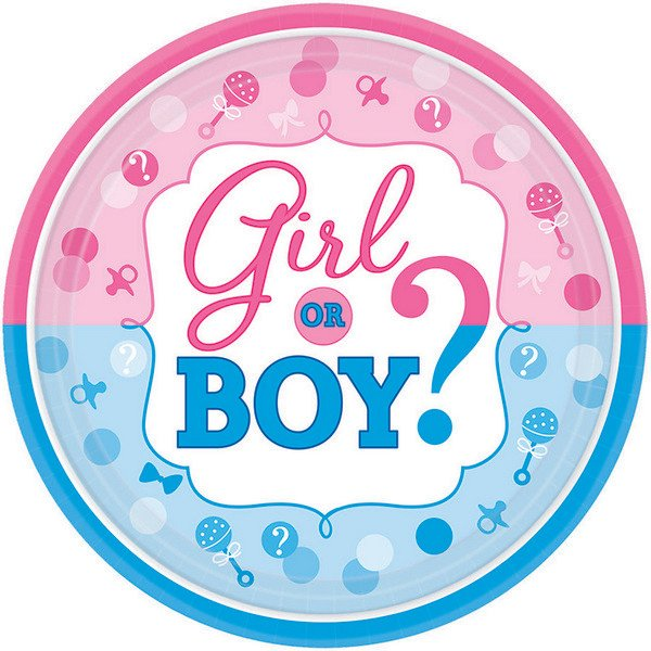 Girl Or Boy Small Plates Paper Pk8