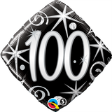 100th Birthday Balloon - Black & Silver / Bouquet