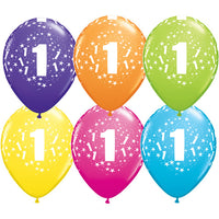 1st Birthday Balloons Assorted - Single or Pack - Helium Filled - Flat