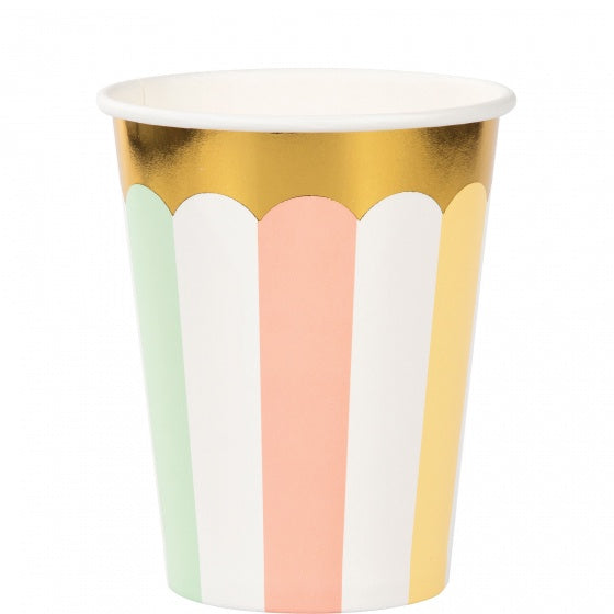 Pastel Paper Cups Scalloped with Gold Trim Pk 8