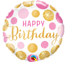 Happy Birthday Foil Balloon - Pink & Gold Dots