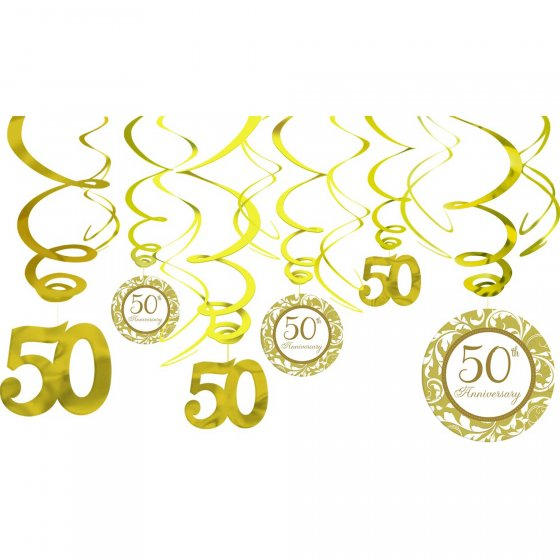 50th Hanging Decorations Gold