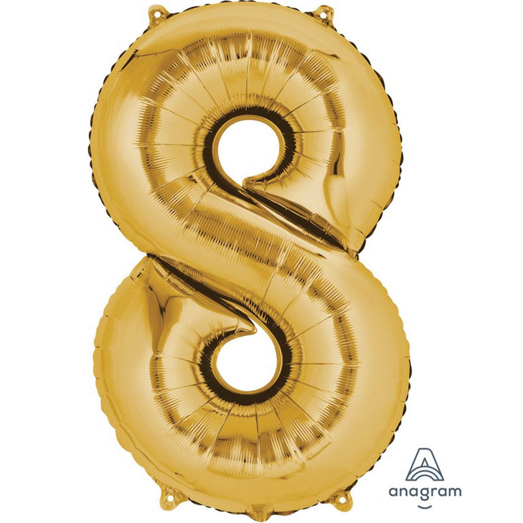 Large Number 8 Balloon - Gold 86cm