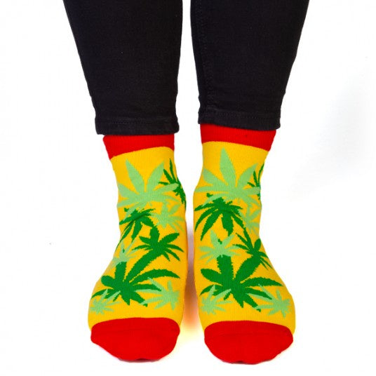 "Weed Print Socks - ""HIGH LIFE"" on the Bottom"