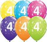 4th Birthday Balloons Assorted - Single or Pack - Helium Filled - Flat