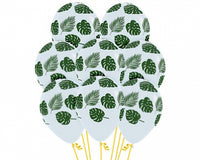 Clear Balloons with Leaves | Monstera Print Balloons - Singles or Packs - Helium Filled or Flat