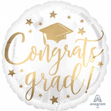 Congrats Grad Balloon Gold & White