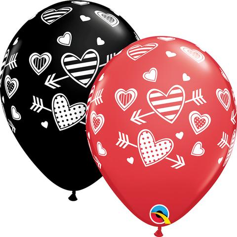 Balloon with Arrow & Hearts - Red & Black