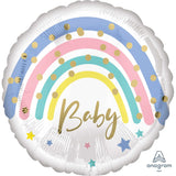 Baby Balloon with Pastel Rainbow - Helium Filled or Flat