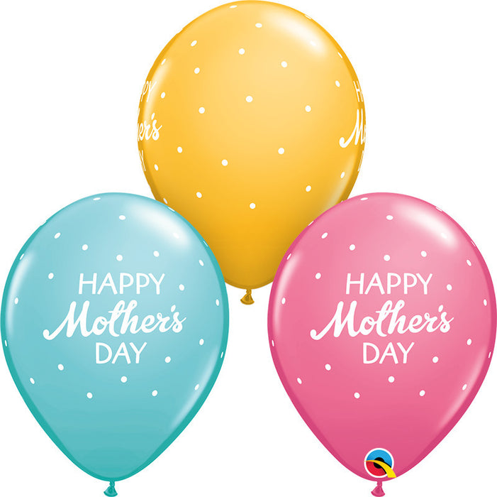 Mother's Day with Dots Assorted Balloon - Single or Packs - Helium filled or Flat