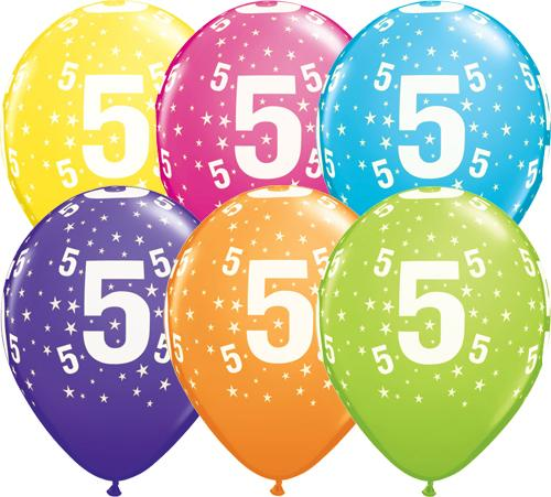 5th Birthday Balloons Assorted - Single or Pack - Helium Filled - Flat