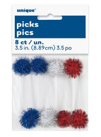 Pom Pom Picks Red, Blue & White