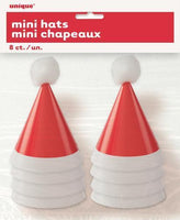 Mini Santa Party Hats Pk8