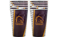 Broncos NRL Paper Cups Pack of 6