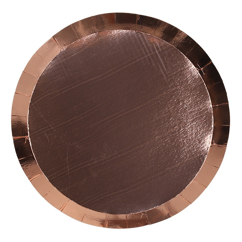 Metallic Rose Gold Paper Plates | Round | Lunch | Pk10