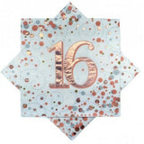 16th Napkins Rose Gold & White
