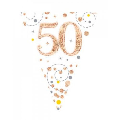 Rose Gold Sparkling Bunting | 50th Birthday