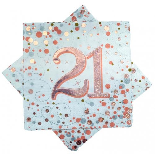 21st Napkins Rose Gold & White