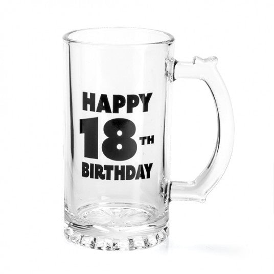 18th Birthday Glass Beer Stein