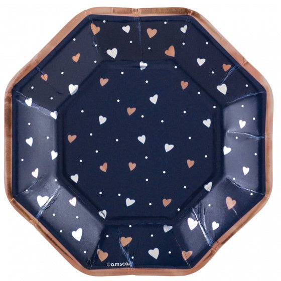 Navy & Rose Gold Plates With Heart Print Small Pk8