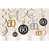 60th Hanging Birthday Decorations Pk12