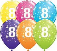 8th Birthday Balloons Assorted - Single or Pack - Helium Filled - Flat