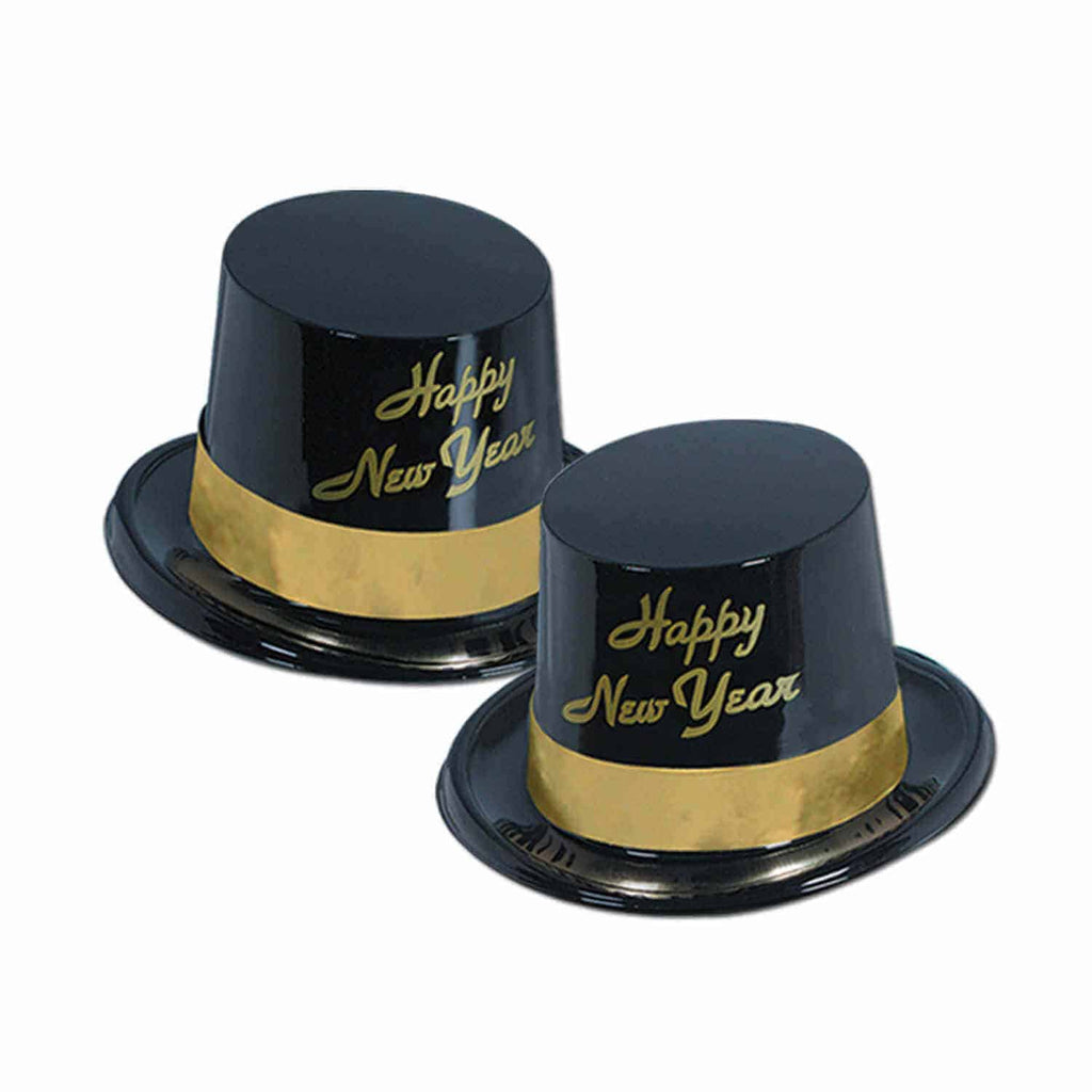 Happy New Year Hat | Top Hat Black  Each