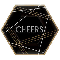 Black & Gold Cheers Hexagon Paper Plates
