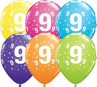 9th Birthday Balloons Assorted - Single or Pack - Helium Filled - Flat