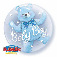Baby Boy Balloon - Bubble with Teddy inside