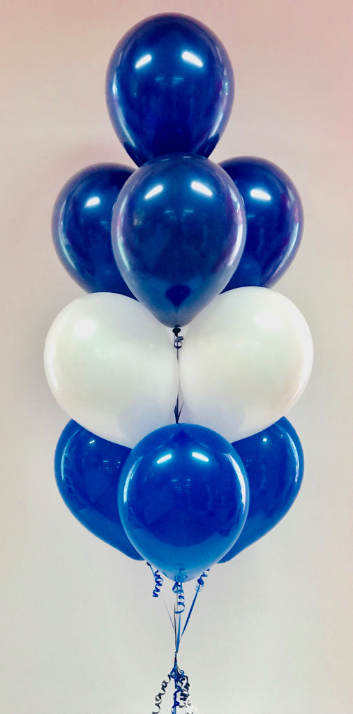 10 Balloon Layered Floor Bouquet - Blue & White