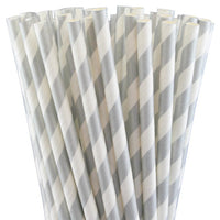 Straws Silver & White Striped Pk10