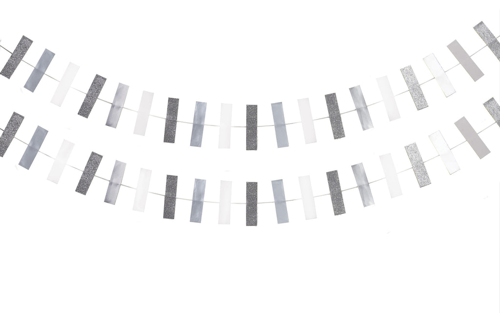 Rectangle Shape Garland - Silver & White