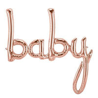 Baby Balloon Rose Gold Script - Air Fill Only