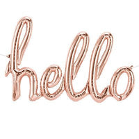 Hello Balloon Rose Gold Script - Air Fill Only