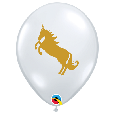 Unicorn Balloons Clear - Single or Pack - Helium Filled or Flat