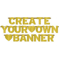 Personalize Banner - Create your own - Gold Glitter