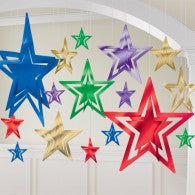 Hanging Decoration 3D Foil Star Colours