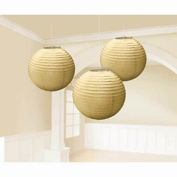 Gold Lanterns Round Paper Pack of 3