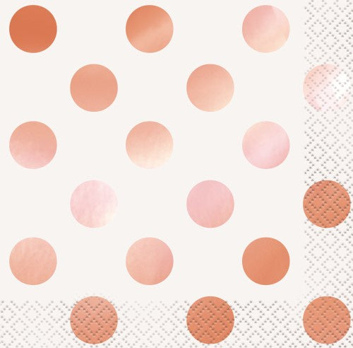Rose Gold Dots | Lunch Napkins | PK16