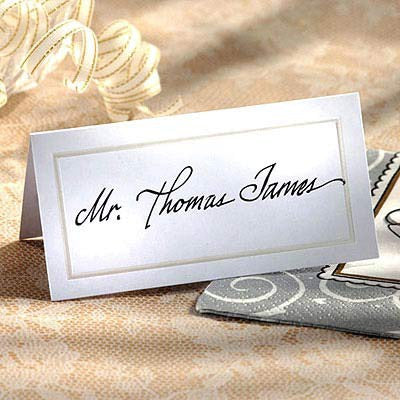 Place Cards Pearlized White Pk50